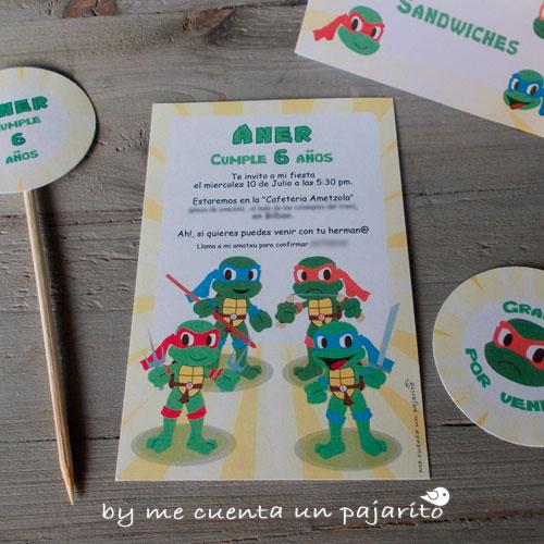 Invitaciones de cumpleaños de las tortugas ninja, kit de cumpleaños