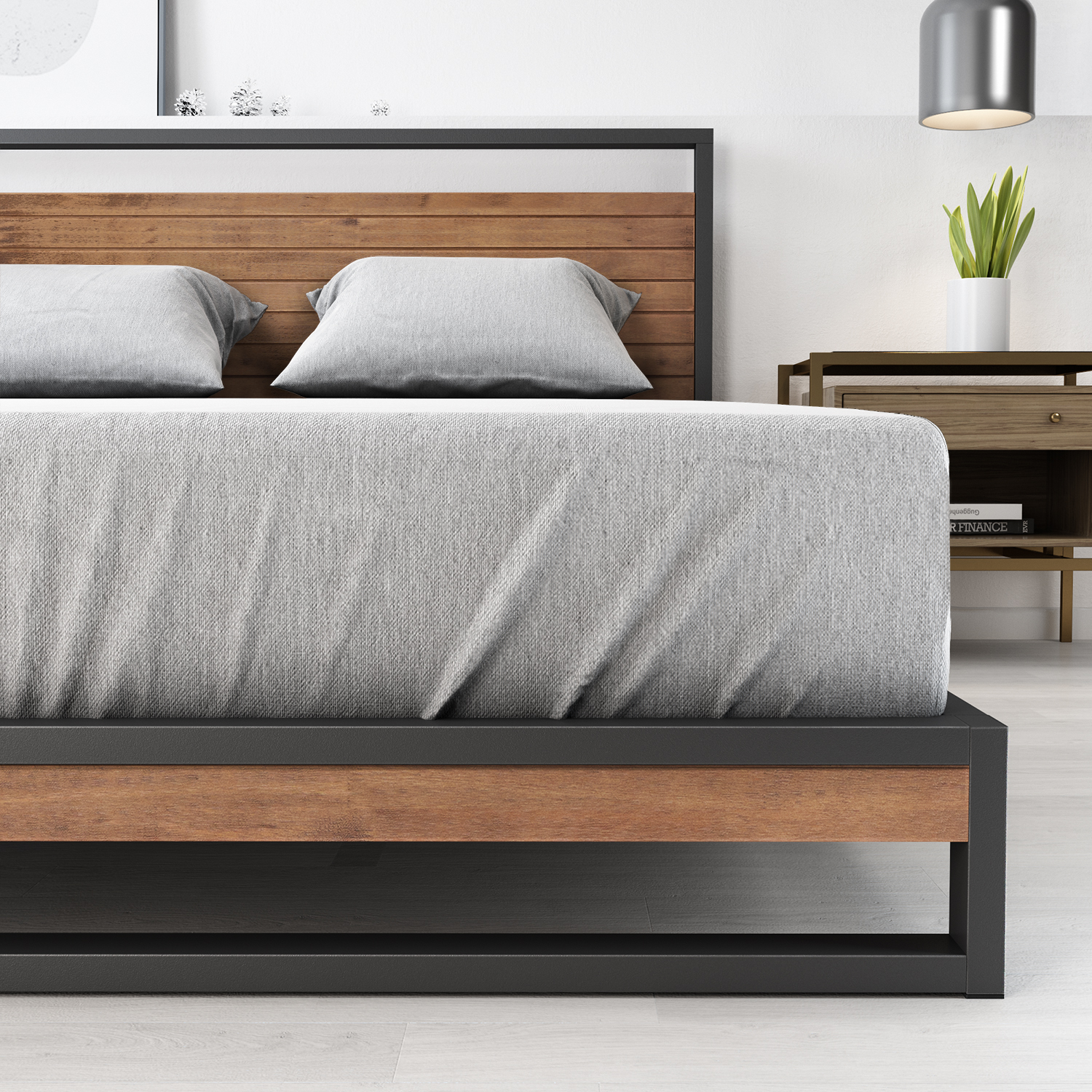 Zinus-Ironline-Metal-Wood-Bed-Frame-Queen-Single-Double-King-Base-Mattress-Pine thumbnail 5