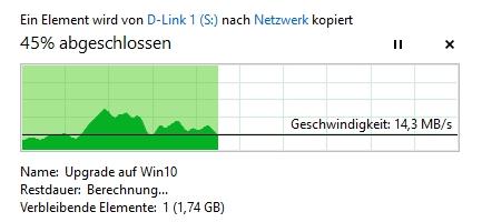 Status-Fenster in Windows 10 - viele Infos in kompakter Darstellung beim Kopieren / Verschieben