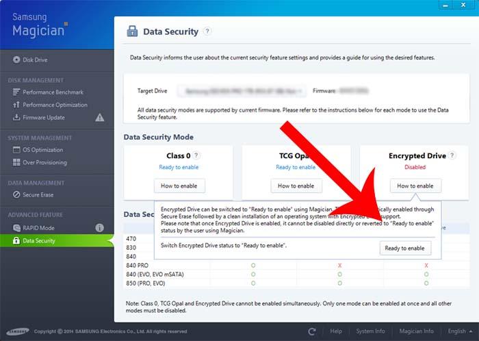 Samsung Hardware Encrypt - ready to enable