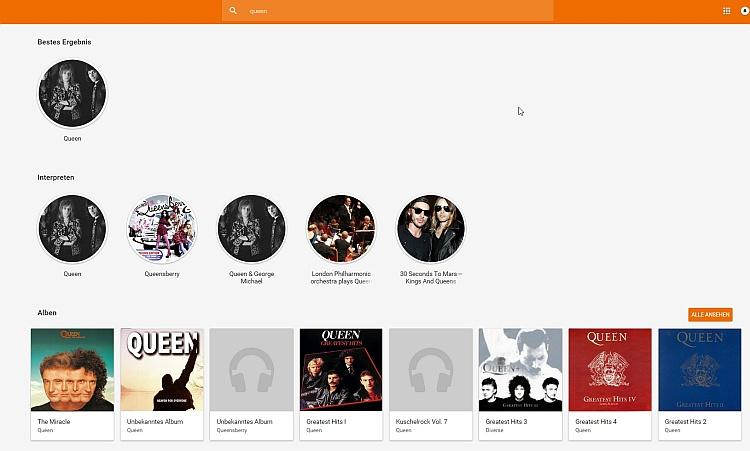 Suche zur Band Queen inkl. weiterer Vorschläge.