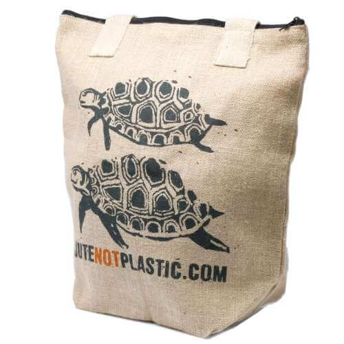 eco jute bag - two turtles (black)