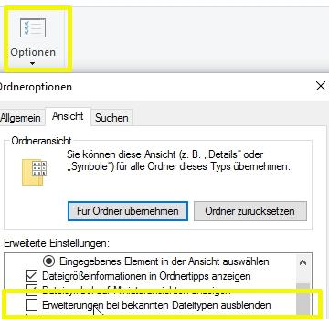 Dateiformat einblenden im Windows Explorer über die Optionen