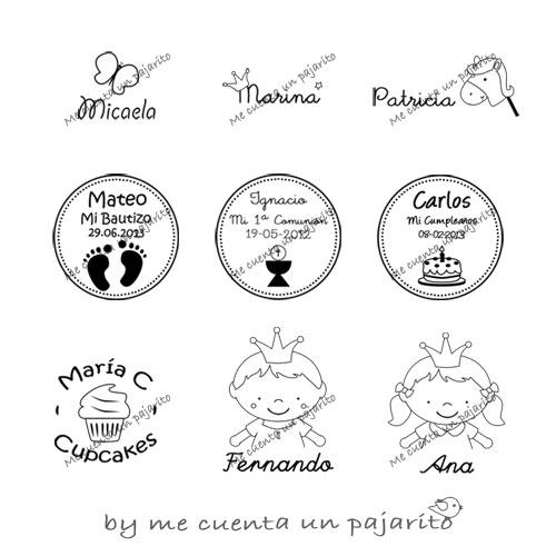 sellos personalizados, bautizo, cumpleaños, primera comunión