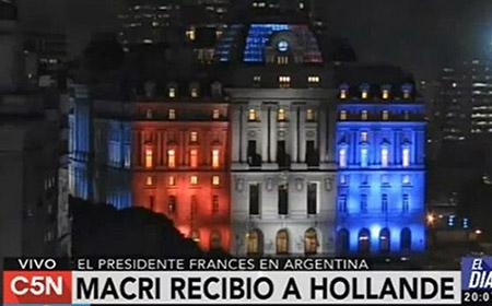 Argentina recibe a Hollande con la tricolor al revés