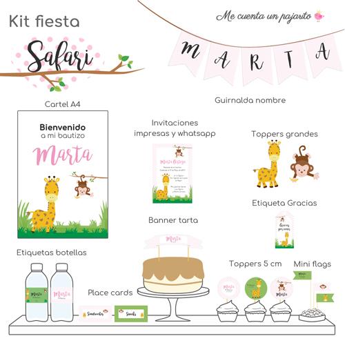 kit de bautizo personalizado safari, jirafa, mono, rosa