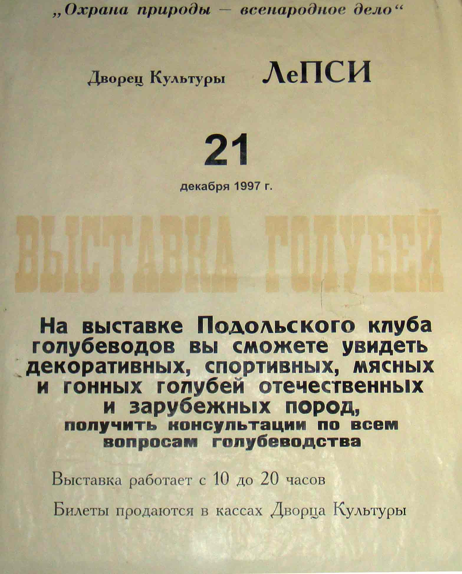 Малафеев В.В. - президент Подольского клуба голубеводов