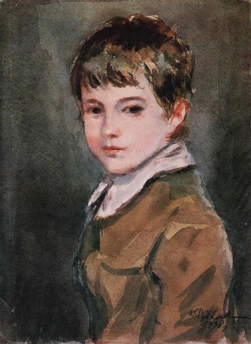 K.Rudakov Retrato del hijo acuarela