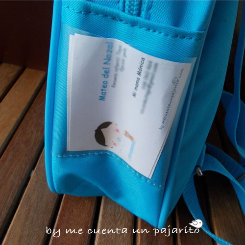 Tarjeta de visita bebe, guardería, mochila, mamá