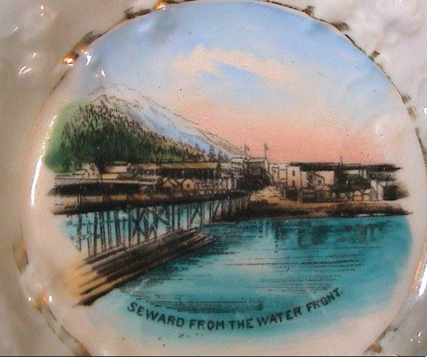 For sale: early Seward Alaska antique souvenir china               showing the town of Seward.