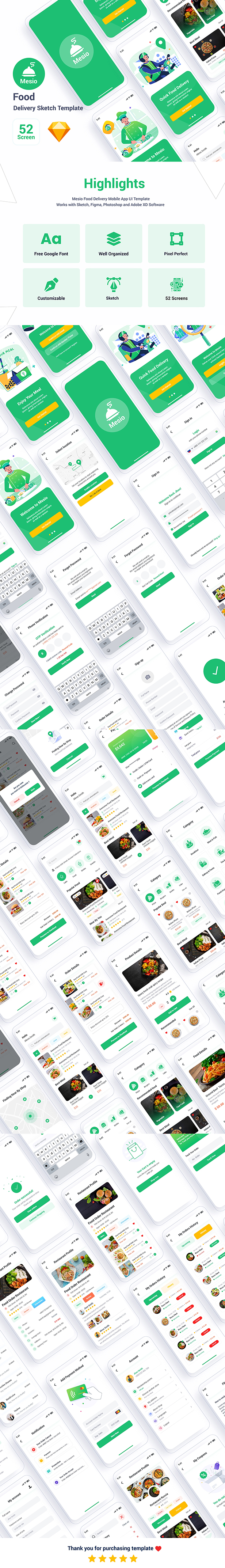 Mesio – Food Delivery Sketch Template - 1