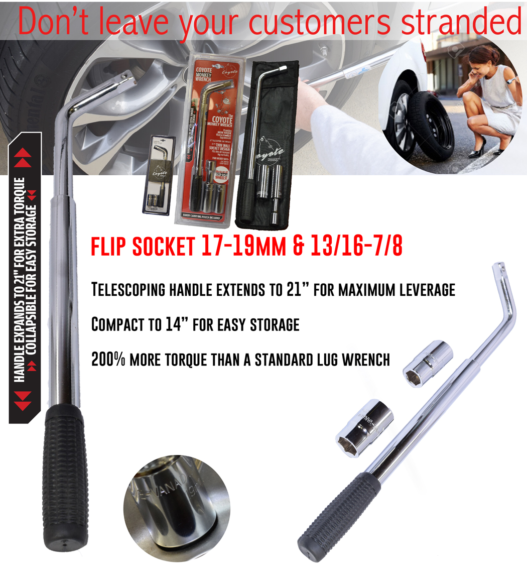 flip socket with wrench: 17-19mm & 13/16 - 7/8