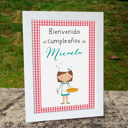 Cartel de bienvenida al cumpleaños personalizado chef, cocinera