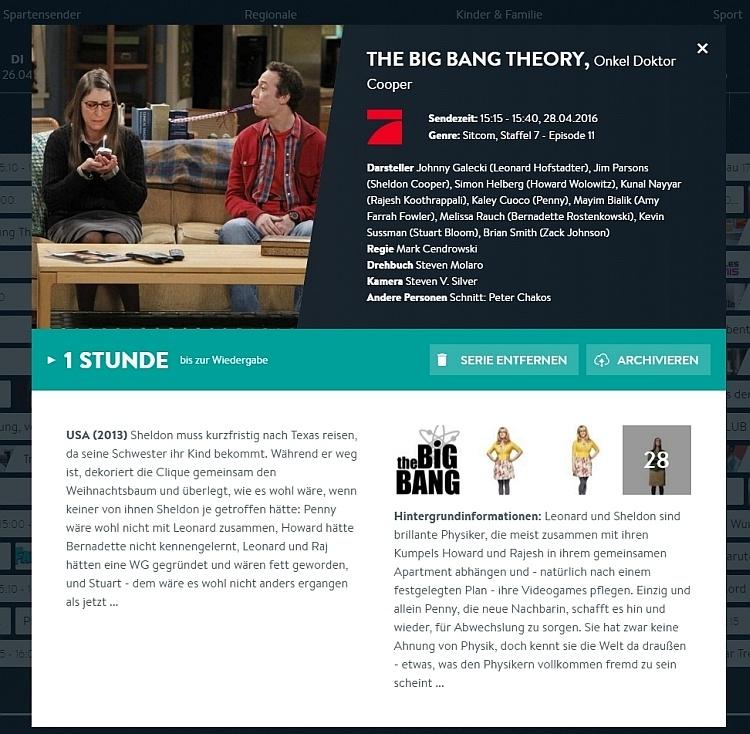 In der Detail-Ansicht zur Sendung gibt's viele Infos zum Film oder der Serien-Episode. Außerdem kann man damit die Sendung oder eine ganze Serie aufnehmen. Über das X rechts oben lässt sich das Info-Fenster wieder schließen.