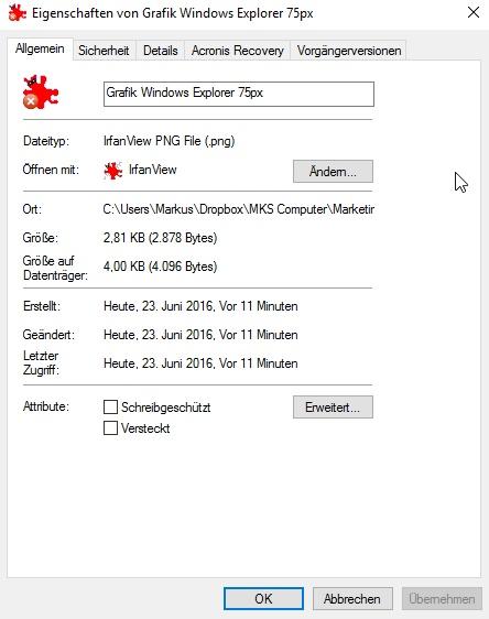 Im Eigenschaften-Fenster erfährt man zahlreiche Details zur Datei.