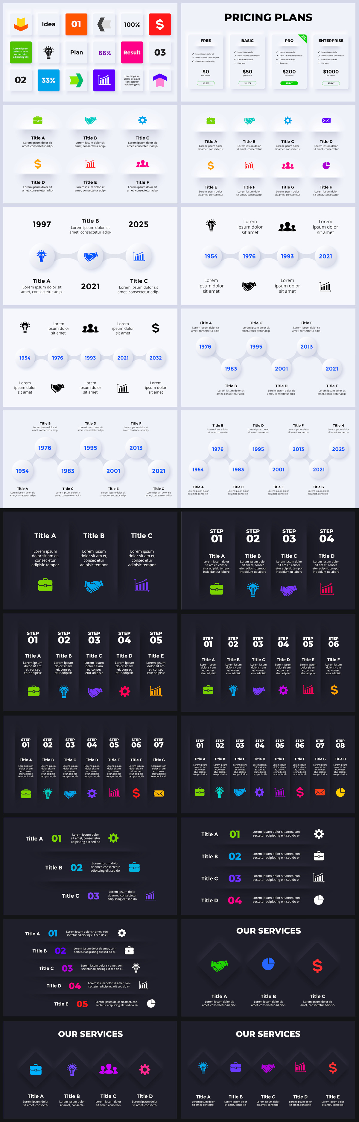 Huge Infographics Bundle! Lifetime Updates! PowerPoint, Photoshop, Illustrator. - 182