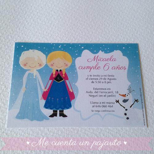 Invitación personalizada del cumpleaños de Frozen con Elsa y Ana