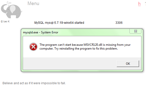 sayagusti - mscvr120.dll is missing