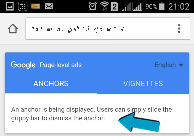 anchor ads in page-level ads adsense