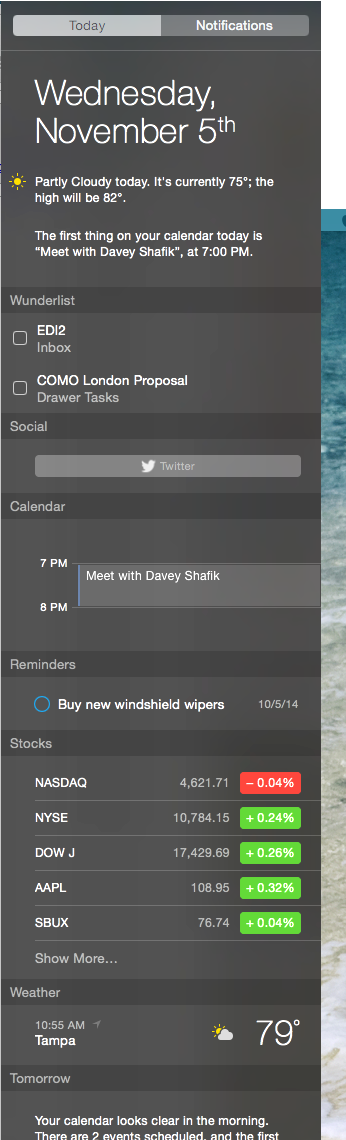 Yosemite Notification Center