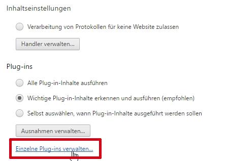Durch Klick auf Inhaltseinstellungen erscheint die Plug-In-Verwaltung.