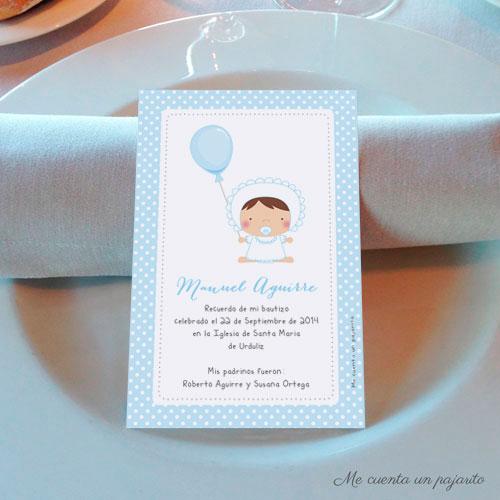 Recordatorio de bautizo personalizado bebe con globo azul