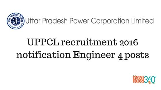 UPPCL recruitment 2016 notification Engineer 4 posts