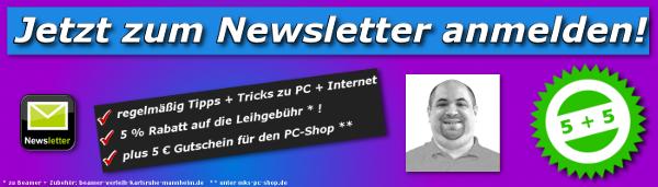 Mit dem Newsletter von MKS Computer & Internet Service bleiben Sie immer auf dem Laufenden  über Aktionen + neue Produkte zum Beamer-Verleih.