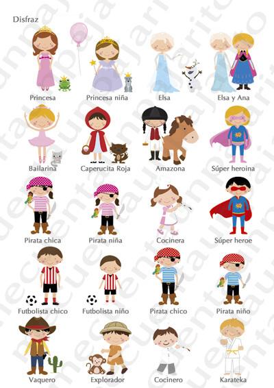 Cómo personalizar tu dibujo, ejemplos disfraces niñas, niños