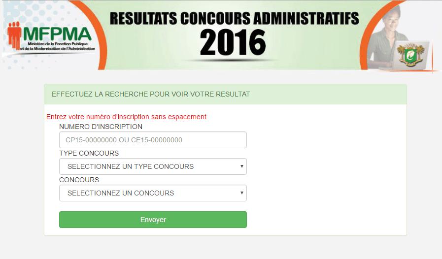 Resultats Concours de la fonction publique 2016-2017 2018 en côte d'ivoire ci MFPRA. Resultats concours Direct ci, Resultats concours professionnel ci,