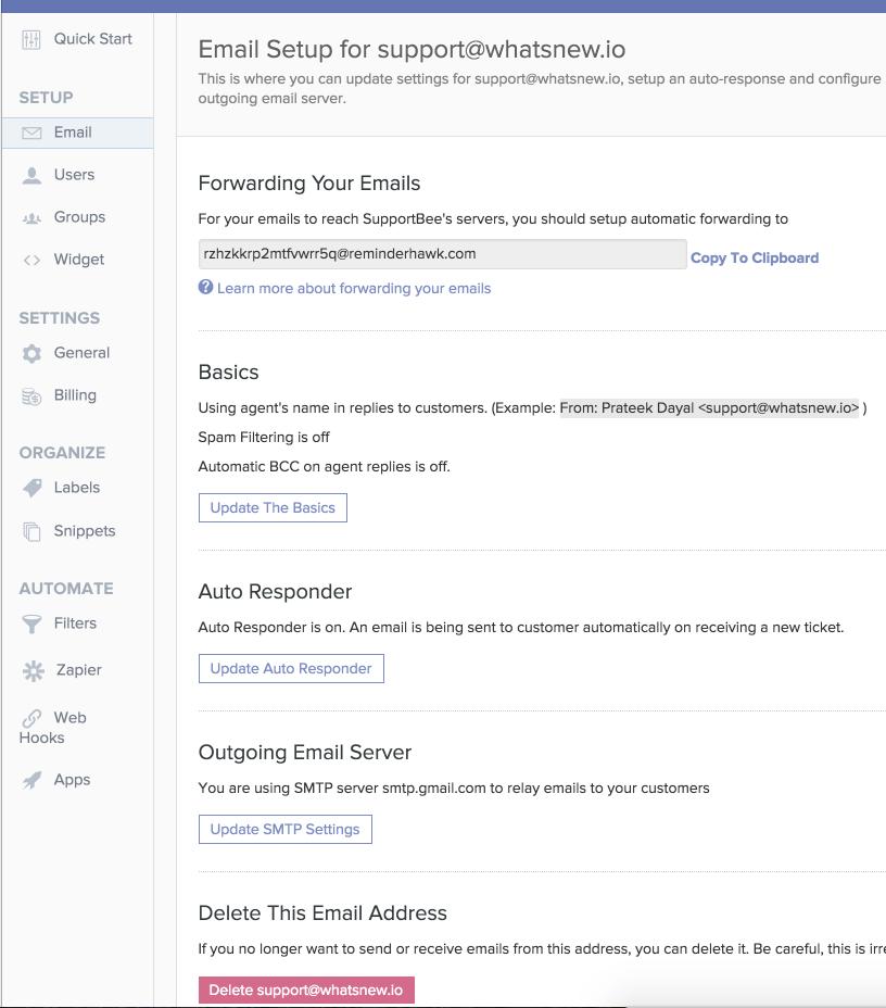 Email Setup Page