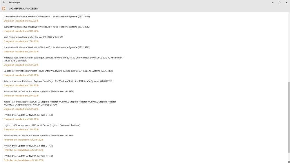 Liste aller bisher installierten Windows 10 Updates - korrekte, vollständige Liste auf TERRA Business PC