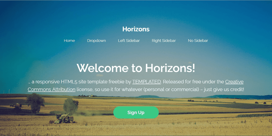 Horizons – Simple Content HTML Template