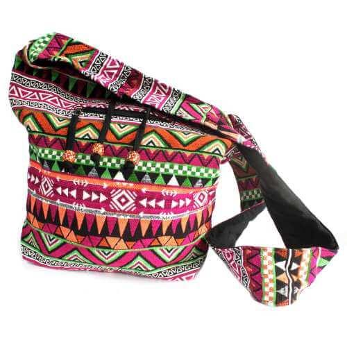 nepal style large sling bag - pink