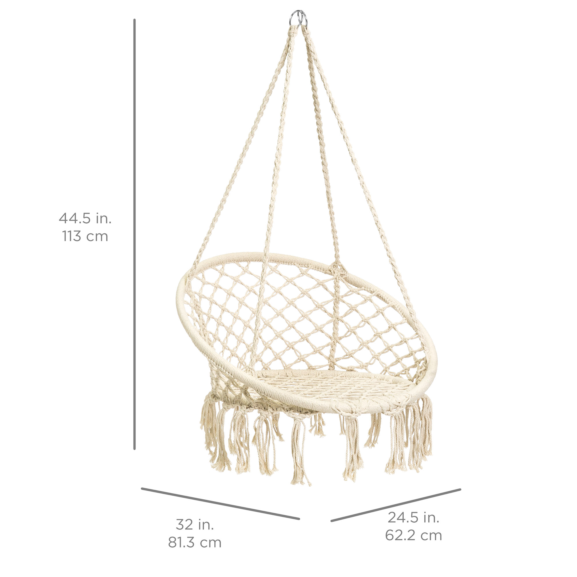 BCP-Handwoven-Cotton-Macrame-Hammock-Hanging-Chair-Swing-w-Backrest thumbnail 14