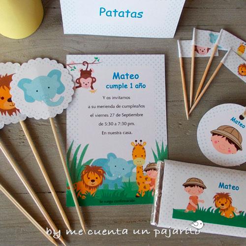 Kit personalizado de la fiesta de cumpleaños del explorador de safari con animales