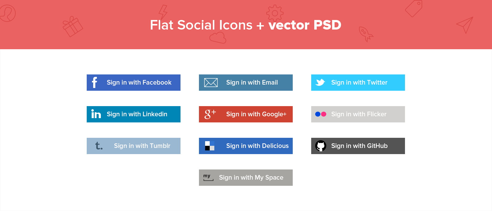 PSD - Flat Social media Icons + Vector PSD