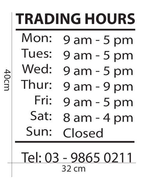 Customise Business trading hours shop sign sticker