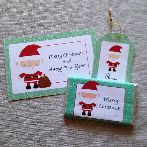 Felicitación de Navidad, etiqueta y chocolatina de Papá Noel