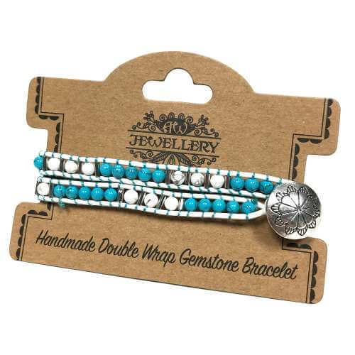 double wrap bracelets - turquoise & white agate
