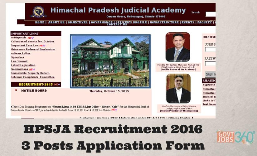 HPSJA Recruitment 2016 Senior Stenographer and Clerks 3 Posts Application Form