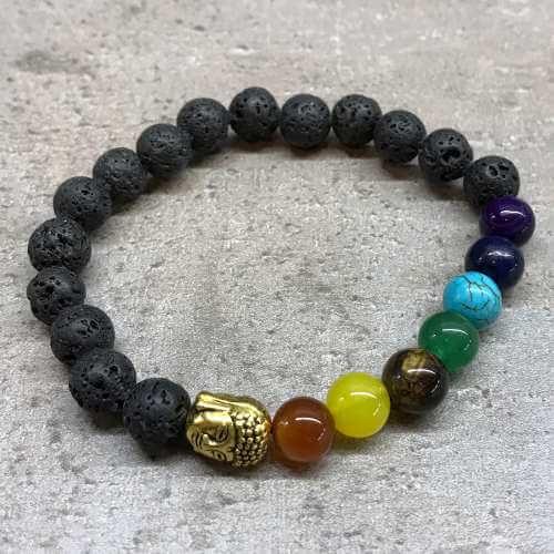 lava stone bracelet - buddha chakhra