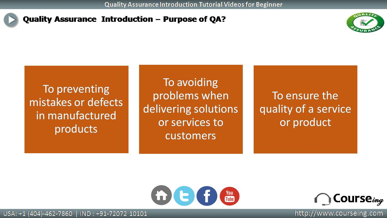Purpose of QA