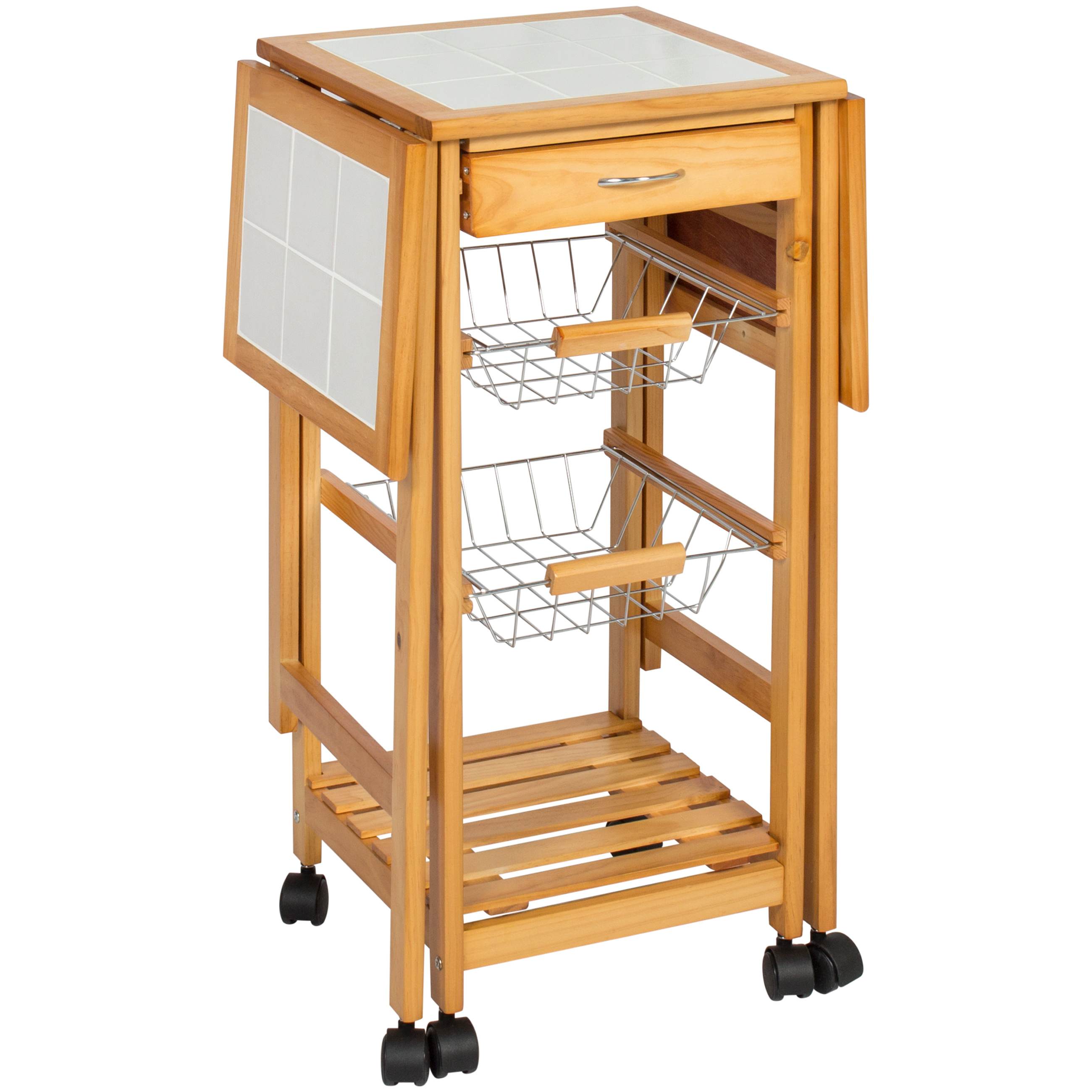 Portable Folding Tile Top Drop Leaf Kitchen Island Cart