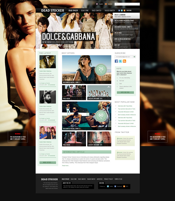 Dead Stocker free high quality website photoshop templates
