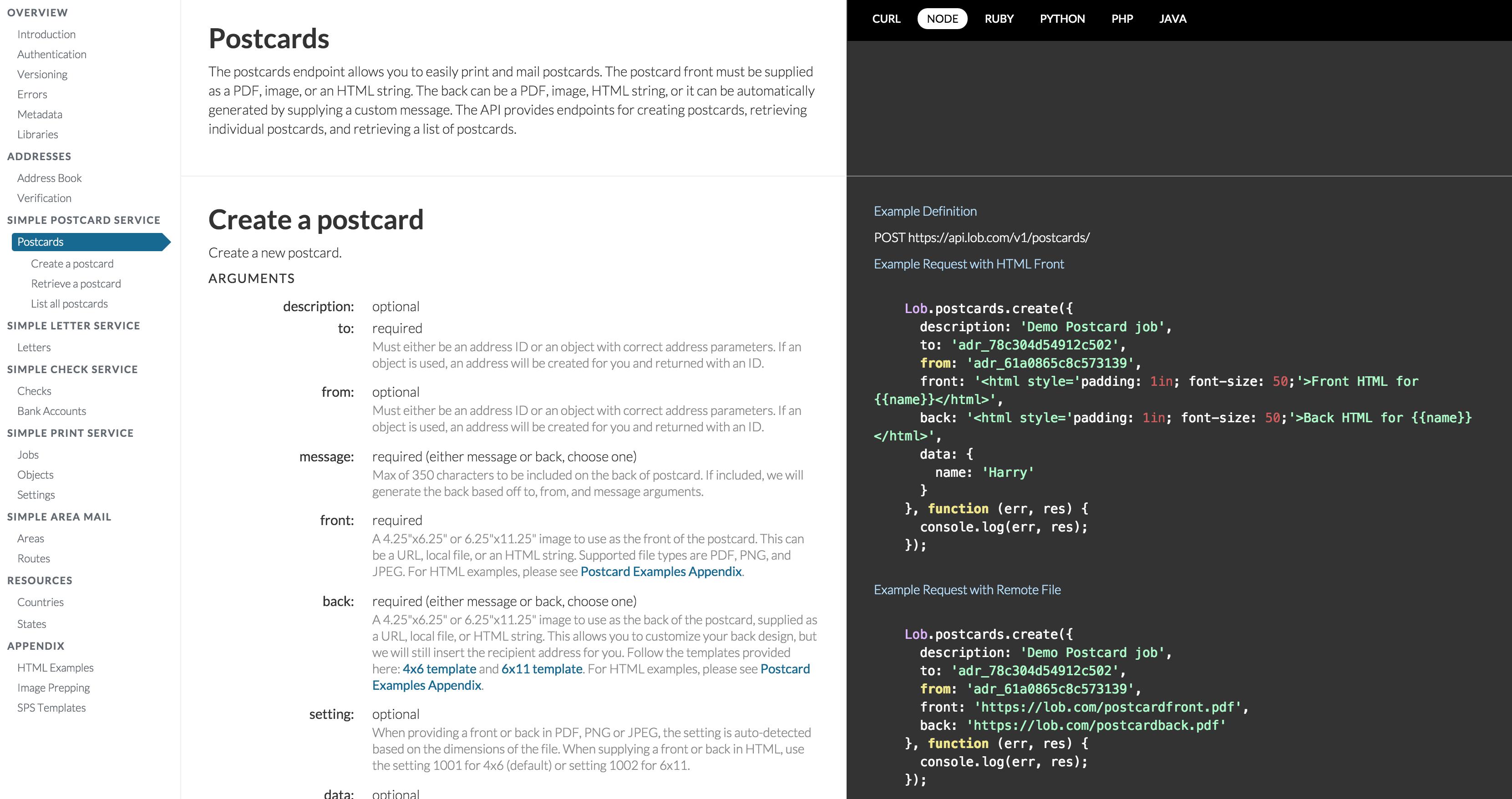 Lob.com API documentation