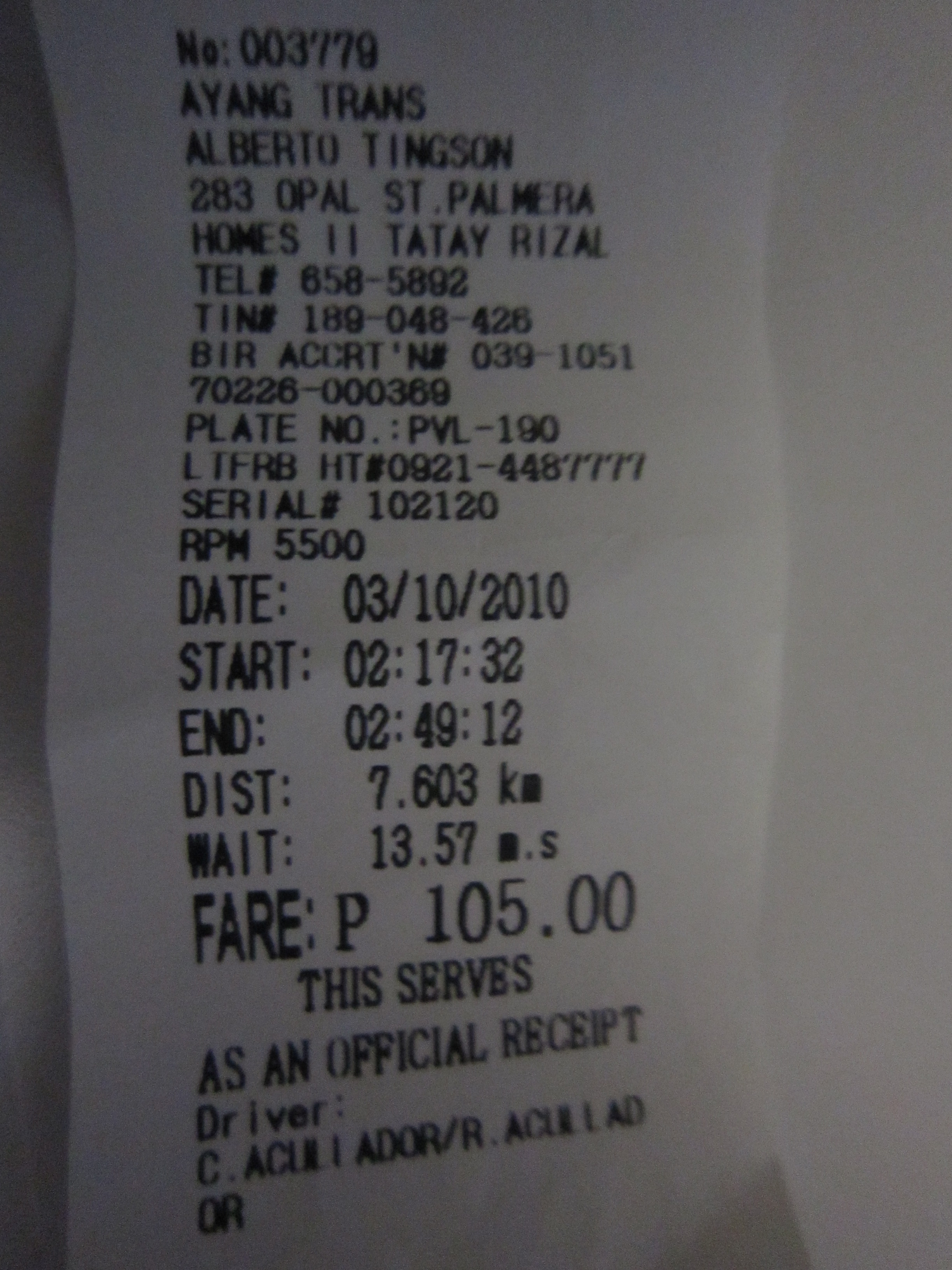 cover-image My First Cabby Receipt