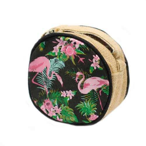 round eco bag - flamingos
