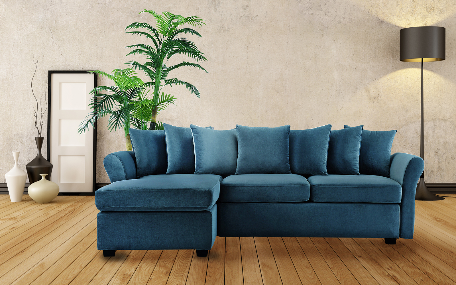classic velvet sectional sofa large l shape couch with wide chaise lounge blue 649862748950 ebay. Black Bedroom Furniture Sets. Home Design Ideas