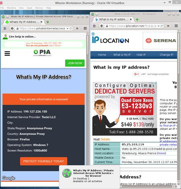 Whonix workstation różne adresy IP sieci Tor